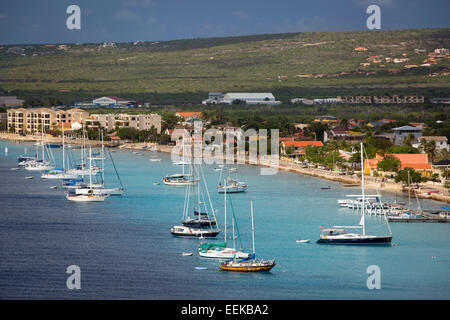 Sailboats anchored offshore at Kralendijk, Bonaire, West Indies - Stock Photo