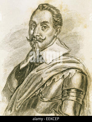 Gustav II Adolf (1594-1632). King of Sweden from 1611 to 1632. Portrait. Engraving. - Stock Photo