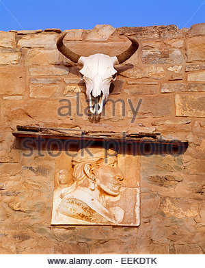 Entrance of the Navajo trading post, founded 1878.  Hubbell Trading Post National Historic Site, Arizona. - Stock Photo