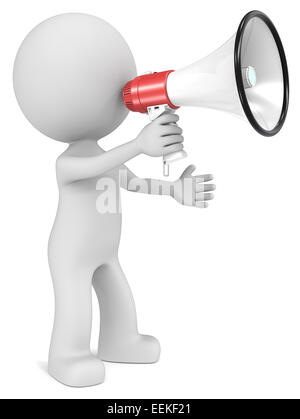 The dude 3D character holding Megaphone. - Stock Photo