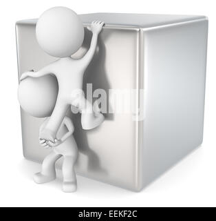 The dude 3D character x2 climbing a metal cube. - Stock Photo