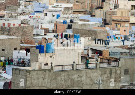 View of Jodhpur city rooftops, in the state of Rajasthan, India - Stock Photo