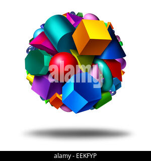 Geometry obects symbol as a group of three dimensional geometric shapes in the form of a globe with figures as a - Stock Photo