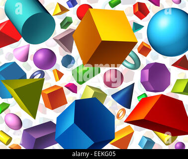 Geometric shapes background and geometry concept as basic three dimensional figures as a cube sphere cylinder floating - Stock Photo