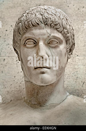 Juvenile male bust  Roman copy after a Greek original 5 Century BC  Rome Capitoline Museum Italy Italian - Stock Photo
