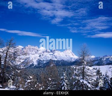 Massive limestone cliffs Alpe di Fanes from Corvara, Dolomites,  Alta Badia  Sud Tirol, Italy - Stock Photo