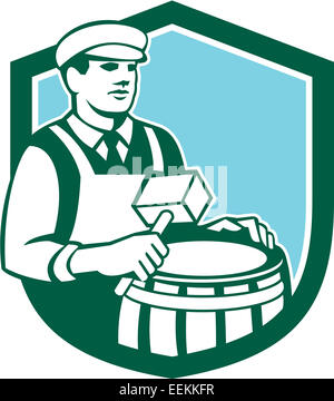 Illustration of a cooper barrel maker making a drum holding a mallet viewed from front set inside shield done in - Stock Photo