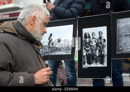 Ankara, Turkey. 19th Jan, 2015. Armenian photos exhibition, Several thousand protesters in Ankara's Kizilay Square - Stock Photo