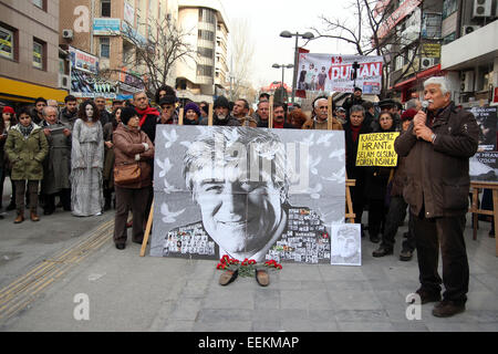 Ankara, Turkey. 19th Jan, 2015. Several thousand protesters in Ankara's Kizilay Square marked the anniversary of - Stock Photo