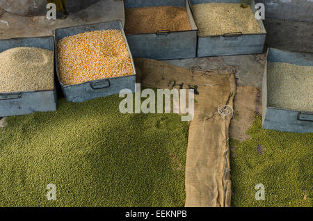 A variety of lentils for sale in a Jodhpur city market, in the state of Rajasthan, Northern India - Stock Photo