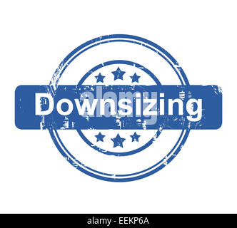 Downsizing business concept stamp with stars isolated on a white background. - Stock Photo