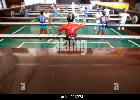 Table football or soccer with goal keeper stock photo for Table th visible
