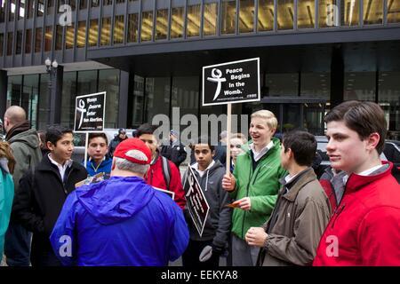 Male anti-abortion protesters. Chicago, Illinois. - Stock Photo