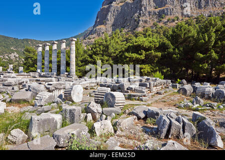 Ruins of the Temple of Athena in the ancient city of Priene. Aydin Province, Turkey. - Stock Photo