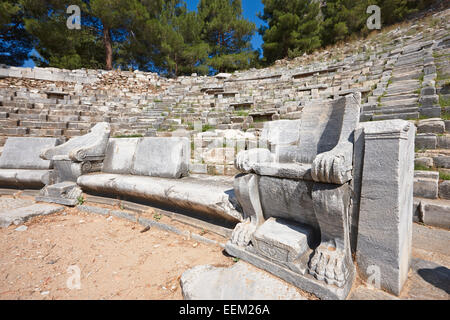 The Theatre in the ancient city of Priene. Aydin Province, Turkey. - Stock Photo