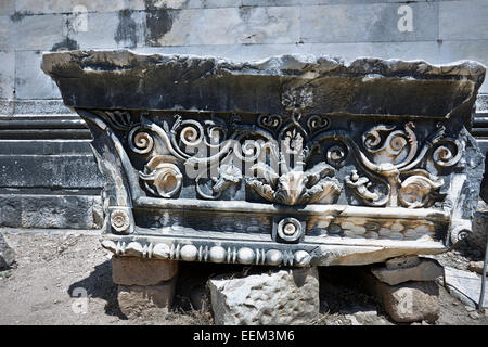Carved stone in the Temple of Apollo. Didim, Aydin Province, Turkey. - Stock Photo