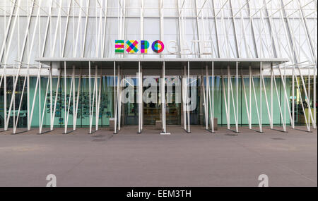 EXPO gate of the Universal Exposition in Milan 2015, Largo Cairoli, Via Dante, Milan, Italy - Stock Photo