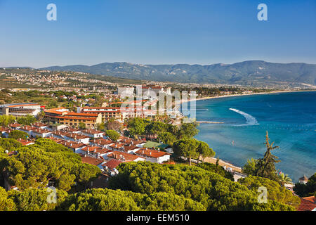 Elevated view of Sogucak village near Kusadasi, Turkey. - Stock Photo