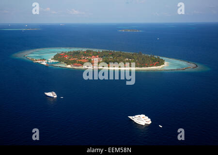 Aerial view, an island of the Maldives with a coral reef, Indian Ocean, atoll, Maldives - Stock Photo