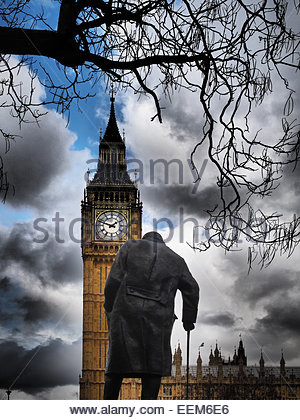 UK, England, London, View of Big Ben and Churchill statue - Stock Photo