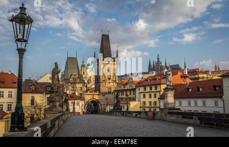 Czech Republic, Prague, View of Mala Strana bridge tower and Prague Castle from Charles Bridge - Stock Photo