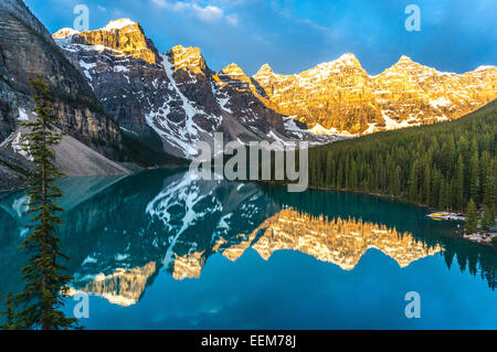 Valley of the Ten Peaks reflected in Morraine lake at sunrise, Banff National Park, Alberta, Canada - Stock Photo