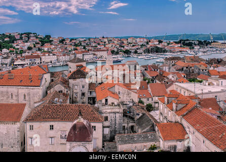 Aerial view of city rooftops and river, Trogir, Split, Croatia - Stock Photo