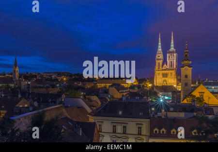 Cathedral spires over rooftops in cityscape, Zagreb, Zagreb, Croatia - Stock Photo