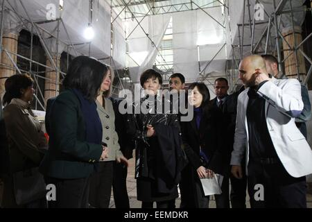 Bethlehem, Church of the Nativity in the West Bank city of Bethlehem. 20th Jan, 2015. Akie Abe (C), wife of Japanese - Stock Photo
