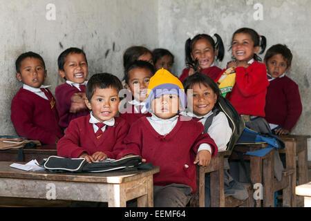 Nepalese children, school class, in Nargakot, Nepal - Stock Photo