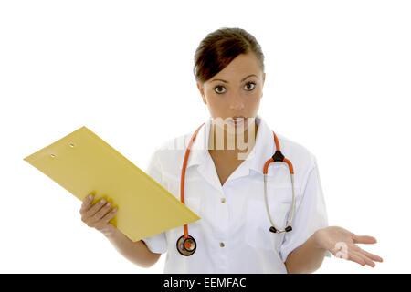 Aerztin, Stethoskop, Menschen, Frau, Arztkittel, Arbeit, Beruf, Heilberuf, Medizinerin, Symbol, Gesundheit, Krankheit, - Stock Photo