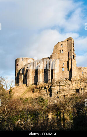 Barnard Castle, Teesdale, County Durham, UK. The ruins of the 12c Norman castle stand high above the River Tees - Stock Photo