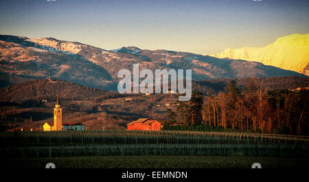 Friuli-Venezia-Giulia lies in north-east Italy adjoining the border with Slovenia and Austria. - Stock Photo