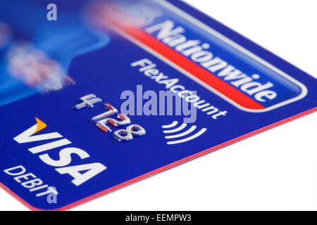 UK issue Visa paywave debit card using contactless payment technology from Nationwide bank on a white background. - Stock Photo