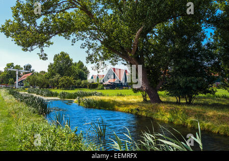 Amsterdam, Waterland district, Marken, typical country houses near the village. - Stock Photo
