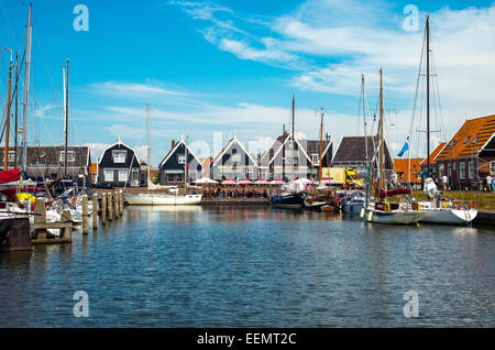 Amsterdam, Waterland district, Marken, boats in the little harbour of the village - Stock Photo