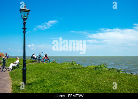 Amsterdam, Waterland district, Volendam, people on the seafront - Stock Photo