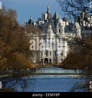 View through St James's Park to Horse Guards Parade - London, England. - Stock Photo