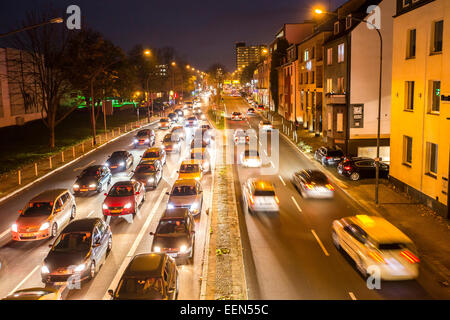 Rush hour in the evening, Alfred Street, Essen, Germany - Stock Photo