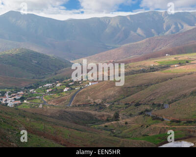 Looking down from Betancuria Massif Rural Parque to island's oldest village of Fuerteventura Canary Islands - Stock Photo
