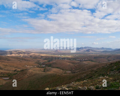 Looking down from Betancuria Massif Rural Parque to Tefia Plain Fuerteventura Canary Islands on a lovely winters - Stock Photo