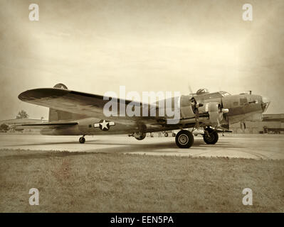 Old WW2 era bomber preparing for takeoff B-17 Flying Fortress - Stock Photo