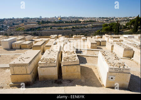 Old jewish graves on the mount of olives in Jerusalem - Stock Photo