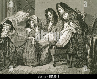 Louis XIV (1638-1715), King of France, with his grandson. Engraving - Stock Photo