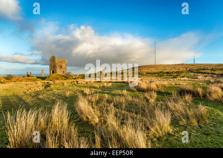 Historic Cornish engine houses at the foot of Caradon Hill at the Minions in on Bodmin Moor in Cornwall - Stock Photo