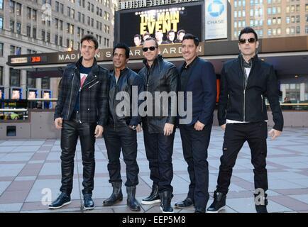 New York, NY, USA. 20th Jan, 2015. New Kids on the Block: Joey McIntyre, Danny Wood, Donnie Wahlberg, Jonathan Knight, - Stock Photo
