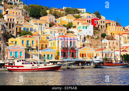 Boats in harbour at Symi Island in the Dodecanese Greece Europe - Stock Photo