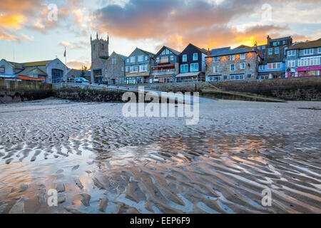 Sunset over the picturesque fishing village at St Ives Cornwall England UK Europe - Stock Photo