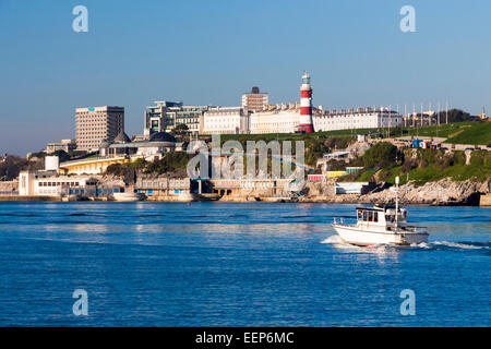 Views accross to Plymouth Hoe from Mount Batten Devon England UK Europe - Stock Photo