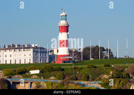 Views across to Plymouth Hoe and Smeaton's Tower from Mount Batten Devon England UK Europe - Stock Photo